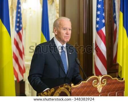 KIEV, UKRAINE - Dec 07, 2015: Vice president of USA Joe Biden during an official visit to Kiev, Ukraine - stock photo