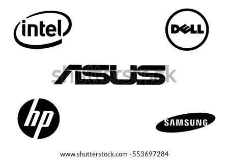 Kiev, Ukraine - December 12, 2016: Set of technology brands logos printed on paper and placed on white background.