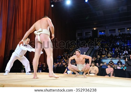 KIEV, UKRAINE - DECEMBER, 16, 2015: Ukrainian Combat Games III - nationwide Combat Games - fight of Ukrainian sumo athletes for the Champion title