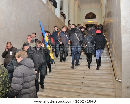 KIEV, UKRAINE � 2 DECEMBER 2013: Unknown demonstrators occupy the Kiev city-hall after dispersal of proeuropean meeting on December 2, 2013 in Kiev, Ukraine.