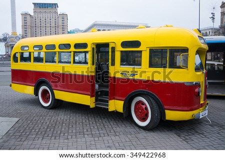KIEV/UKRAINE - DECEMBER 15, 2015: ZiS-155, Old USSR bus