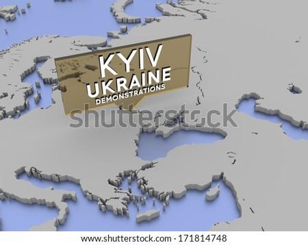 Kiev, Ukraine - demonstrations picker on a 3d rendered map - stock photo