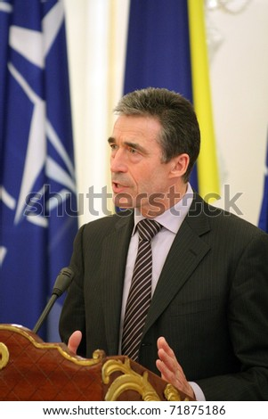 KIEV, UKRAINE - FEB 24: Anders Fogh Rasmussen, the 12th Secretary General of NATO, speaks during a briefing in the presidential administration of Ukraine, on February 24, 2011 in Kiev, Ukraine