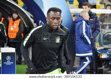 Kiev, UKRAINE - FEB 24: Bacary Sagna trains before the UEFA Champions League match between Dynamo Kiev (Ukraine) vs Manchester City (England), 24 February 2016, Ukraine