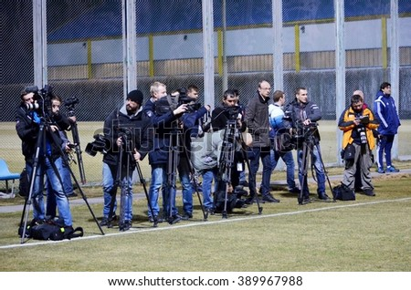 Kiev, UKRAINE - FEB 24: Journalists and reporters shoot team training before the UEFA Champions League match between Dynamo Kiev (Ukraine) vs Manchester City (England), 24 February 2016, Ukraine