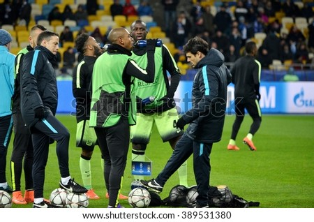 Kiev, UKRAINE - FEB 24: Manchester City players are trained and drink water before the UEFA Champions League match between Dynamo Kiev vs Manchester City (England), 24 February 2016, Ukraine