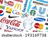 KIEV, UKRAINE - FEBRUARY 21, 2012: A logotype collection of well-known world brand's printed on paper. Include Google, McDonald's, Nike, Coca-Cola, Facebook, Apple and more others logo. - stock photo