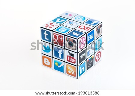 KIEV, UKRAINE - FEBRUARY 2, 2013: A Rubik's cube with logotypes of well-known social media brand's. Include Facebook, YouTube, Twitter, Google Plus, Instagram, Vimeo and other logos. - stock photo