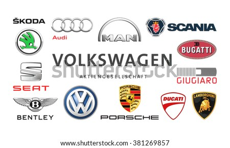 Kiev, Ukraine - February 24, 2016: Collection of popular car logos printed on white paper: Volkswagen, Audi, Seat, Bentley, Bugatti, Ducati, Giugiaro, Lamborghini, Scania, Skoda and other