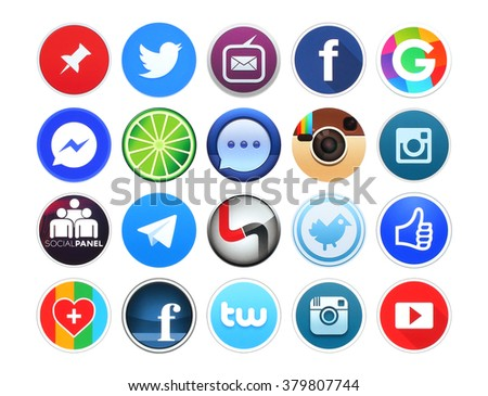 Kiev, Ukraine - February 19, 2016: Collection of popular round social networking, photo and video icons printed on white paper: Facebook, Instagram, Pinterest, Youtube, Twitter and other