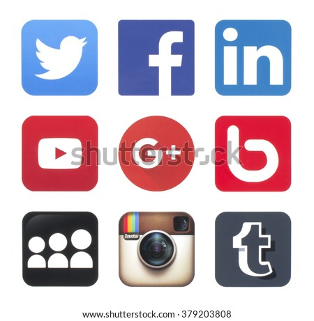KIEV, UKRAINE - FEBRUARY 20, 2016: Collection of popular social media logos printed on paper: Twitter, Facebook,  Google Plus, LinkedIn, YouTube, Bebo, MySpace, Instagram and Tumblr - stock photo
