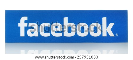 KIEV, UKRAINE - FEBRUARY 19, 2015:Facebook logo sign printed on paper and placed on white background. Facebook is a well-known social networking service. - stock photo