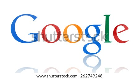 KIEV, UKRAINE - FEBRUARY 19, 2015:Google logotype printed on paper. Google is USA multinational corporation specializing in Internet-related services and products. - stock photo