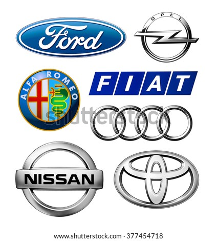 Kiev, Ukraine - February 11, 2016: Logos collection of different brands of cars: Opel, Fiat, Ford, Nissan, Toyota, Audi and Alfa Romeo, printed on paper and placed on white background.