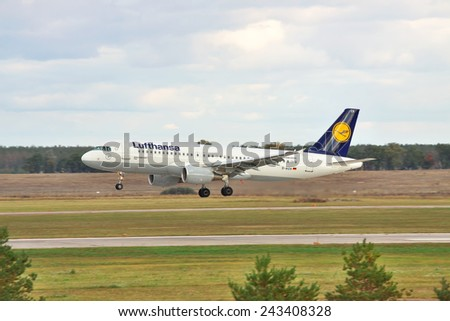 Kiev, Ukraine - February 11, 2011: Lufthansa Airbus A320 on final landing
