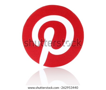 KIEV, UKRAINE - FEBRUARY 19, 2015:Pinterest logotype printed on paper. Pinterest is photo sharing website. - stock photo