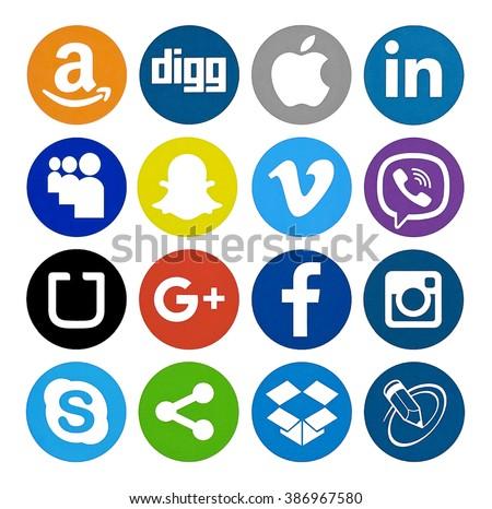 Kiev, Ukraine - February 19, 2016: Set of most popular social media icons:Instagram, Facebook, Viber, Apple, Snapchat, Uber,Google plus , Skype, Vimeo, Linkedin and others printed on paper. - stock photo