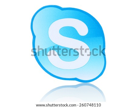 KIEV, UKRAINE - FEBRUARY 19, 2015: Skype logotype printed on paper and placed on white background. Skype is a telecommunications application software developed by Microsoft. - stock photo