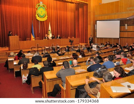 KIEV, UKRAINE � 28 FEBRUARY 2013: The Ukrainian minister of health protection Oleh Musij meets with medical community on the first session of ministry on February 28, 2013 in Kiev, Ukraine. - stock photo