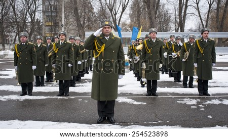 Kiev Ukraine. February  19, 2015.  Ukrainian military returned from eastern Ukraine where there passes anti-terrorist operation.