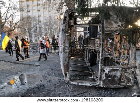 KIEV, UKRAINE - 19 FEBRUARY 2014: Unknown demonstrators build barricades in government district on February 19, 2014 in Kiev, Ukraine.