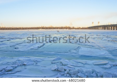 Kiev Ukraine, Frozen Dnieper river in winter - stock photo