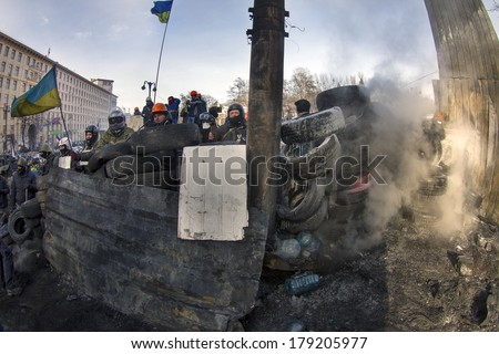 KIEV, UKRAINE - JAN 27, 2014: Temporary truce after-death battles and demonstrators lull, both sides are in their positions, while preparing for the possibility to take the offensive.