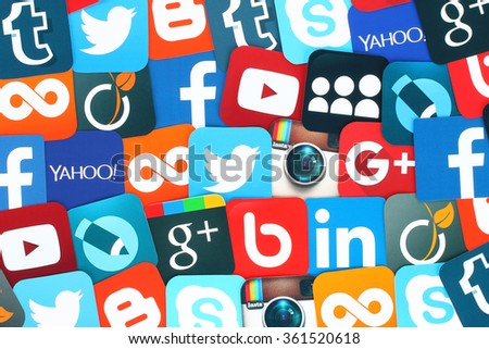Kiev, Ukraine - January 11, 2016: Background of famous social media icons such as: Facebook, Twitter, Blogger, Linkedin, Tumblr, Myspace and others, printed on paper. - stock photo