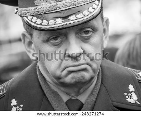 KIEV, UKRAINE - January 29, 2015: First Deputy Chief of the General Staff Gennady Vorobyev, reinstatement of President Poroshenko. Ukrainian politicinas attended the ceremony Kruty Heroes - stock photo