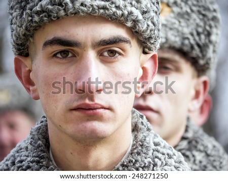 KIEV, UKRAINE - January 29, 2015: Guard of honor -- Ukrainian politicinas attended the ceremony Kruty Heroes, young guys who on this day in 1918 near the station Kruty in Chernihiv region  - stock photo