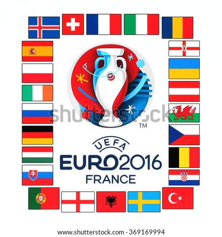 Kiev, Ukraine - January 29, 2016: Official logo of the 2016 UEFA European Championship in France with flags of the countries participants printed on white paper - stock photo