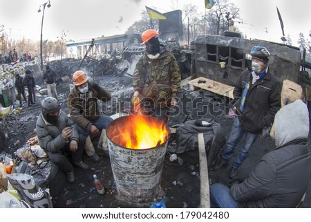 Kiev, Ukraine - January 26, 2014: The barricades on the street were built Hrushevskoho defenders of democracy to stop the advance of  special forces remained loyal to President Yanukovych-squad Berkut