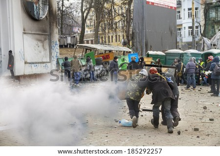 Kiev, Ukraine - January 20, 2014: The barricades on the street were built Hrushevskoho defenders of democracy to stop  advance of the special forces remained loyal to President Yanukovych-squad Berkut