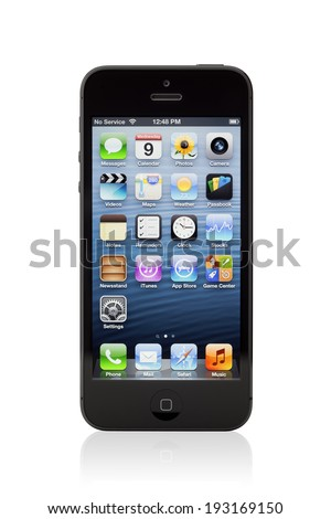 KIEV, UKRAINE - JANUARY 9, 2013: The new black Apple iPhone 5, sixth generation version of the iPhone is slimmer and lighter model with new high-resolution, 4-inch screen display. - stock photo