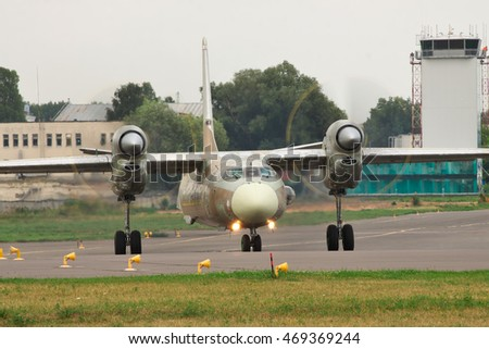 Kiev, Ukraine - July 31, 2012: Antonov An-32 Cargo Plane is preparing for a test flight after a maintenance and check