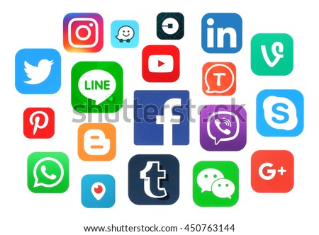 Kiev, Ukraine - July 11, 2016: Collection of popular social media logos printed on paper:Facebook, Twitter, Google Plus, Instagram, LinkedIn, Pinterest, Vine, Youtube and others - stock photo