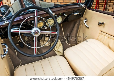 Kiev, Ukraine - July 16, 2016: Driver's cockpit of a classic car