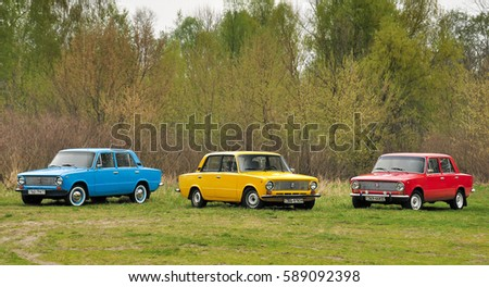 kiev ukraine july 4 2016 three retro cars vaz 2101