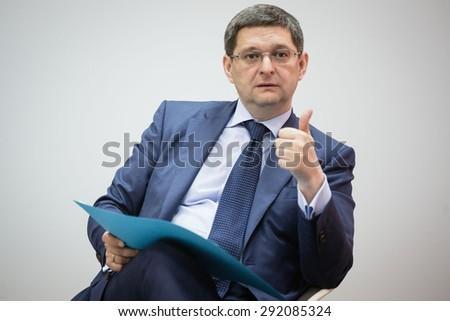 KIEV, UKRAINE - Jun 30, 2015: First Deputy Head of Presidential Administration of Ukraine Vitaliy Kovalchuk at the meeting with journalists in Kiev - stock photo