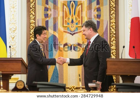 KIEV, UKRAINE - Jun 06, 2015: President of Ukraine Petro Poroshenko and Japanese Prime Minister Shinzo Abe during a joint briefing in Kiev