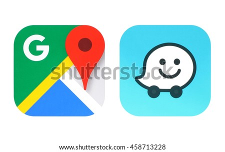 Kiev, Ukraine - June 25, 2016: Collection of popular navigation icons printed on paper: Google Maps and Waze