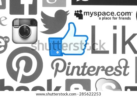 KIEV, UKRAINE - June 08, 2015:Collection of popular social media logos printed on paper:Facebook, Twitter, Instagram, Skype, Pinterest and others on white background.