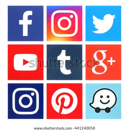 Kiev, Ukraine - June 22, 2016: Collection of square popular social media logos printed on paper:Facebook, Twitter, Google Plus, Instagram, Youtube, Waze, Pinterest and Tumblr