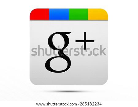 KIEV, UKRAINE - JUNE 07, 2015:Google plus logotype on pc screen.  Google is USA multinational corporation. - stock photo