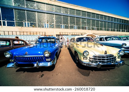 Kiev, Ukraine -June 19,2014 .  Old and vintage cars meeting in June 19,2014, Kiev, Ukraine . - stock photo