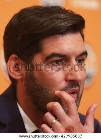"KIEV, UKRAINE - June 1, 2016:Press Conference on the new coach of FC ""Shakhtar"".Paulo Fonseca, a new head coach, ""Shakhtar"" during a press conference."