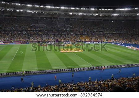 KIEV, UKRAINE, JUNE 11, 2012, Traditional Ceremony Before the Game, Stewards Holding, National Teams, Sweden, Olympic Stadium, Football, Documentary Editorial