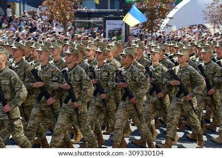 Kiev, Ukraine, Khreshchatyk Street, August 24, 2015. Military march to the Independence Day of Ukraine. - stock photo