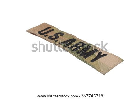 KIEV, UKRAINE - Mar. 29, 2015. Illustrative editorial. US ARMY branch tape uniform badge isolated on white background