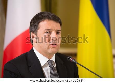 KIEV, UKRAINE - Mar. 04, 2015: Prime Minister of Italy Matteo Renzi during a meeting with the President of Ukraine Petro Poroshenko in Kiev - stock photo